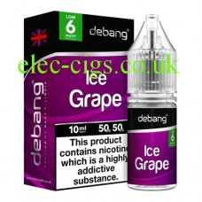image shows a bottle and box containing Ice Grape UK Made E-Liquid from Debang