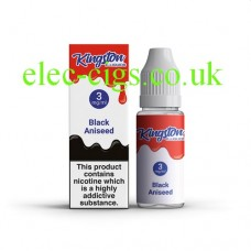 image shows a box and bottle containing Kingston 10 ML Black Aniseed E-Liquid