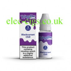 image shows a box and bottle containing Kingston 10 ML Blackcurrant Chill E-Liquid