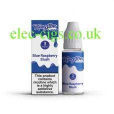 image shows a box and bottle containing Kingston 10 ML Blue Raspberry Slush Chill E-Liquid