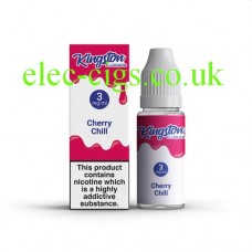 image shows a box and bottle containing Kingston 10 ML Cherry Chill E-Liquid