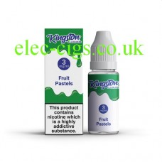 image shows a box and bottle containing Kingston 10 ML Fruit Pastels E-Liquid