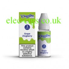 image shows a box and bottle containing Kingston 10 ML Grape Zingberry E-Liquid