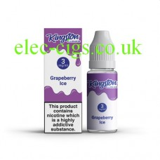 image shows a box and bottle containing Kingston 10 ML Grapeberry Ice E-Liquid