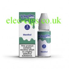 image shows  a box and bottle containing Kingston 10 ML Menthol E-Liquid