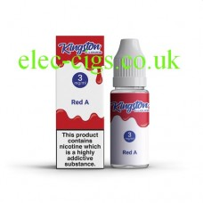 image shows  a box and bottle containing Kingston 10 ML Red A E-Liquid