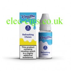 image shows a box and bottle containing Kingston 10 ML Refreshing Chews E-Liquid