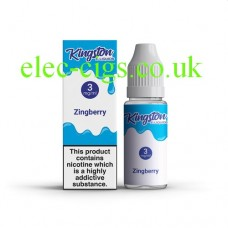 image shows a box and bottle containing Kingston 10 ML Zingberry E-Liquid