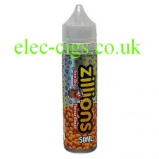 image shows a bottle of Zillions 50 ML Iron Bru E-Liquid