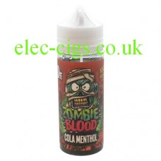 image shows a bottle of Cola Menthol 100 ML E-Liquid from Zombie Blood