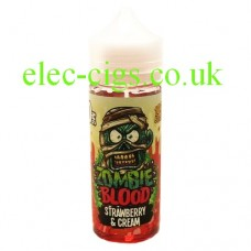 image shows a bottle of Strawberry Cream 100 ML E-Liquid from Zombie Blood