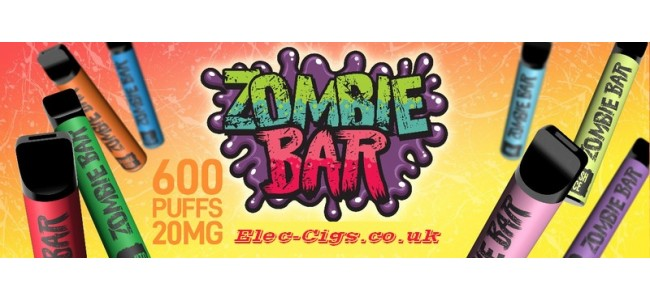 Image shows just a few of the flavours available in the Zombie Bar Disposable E-Cigarettes Range