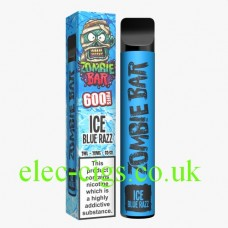 Image shows the Zombie Bar 600 Puff Ice Blue Razz in all its glory.