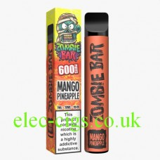 Image contains the the Zombie Bar 600 Puff Mango Pineapple and the colourful box it is delivered in.