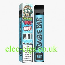 Image is of the Zombie Bar 600 Puff Mint with the box it arrives in.