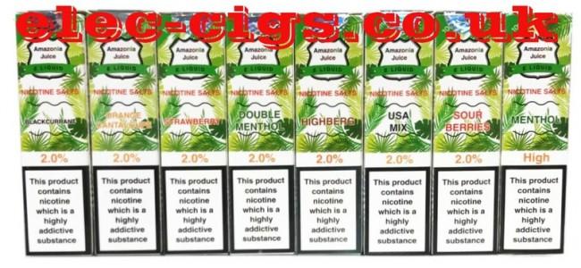 Amazonia Nicotine Salt Range of E-Liquids