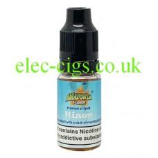 image shows a bottle of Amazonia 10ML Sub-Ohm E-Liquid Hizen