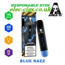 image shows all the details of Area 51 New 400 Puff Disposable E-Cigarette Stix Blue Razz