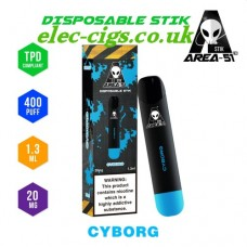 image shows all the details of Area 51 New 400 Puff Disposable E-Cigarette Stix Cyborg