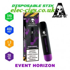 Image shows all the details of Area 51 New 400 Puff Disposable E-Cigarette Stix Event Horizon