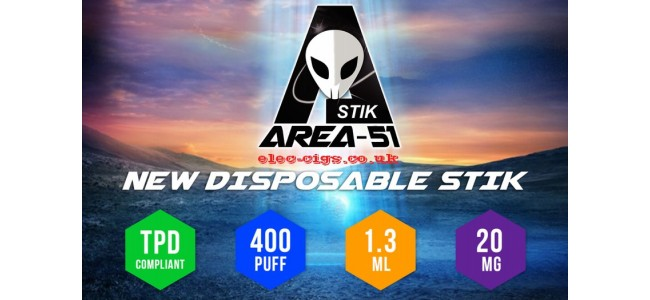 This shows all the benefits and values of the Area 51 New Disposable Stik - 400Puff - 20MG Range