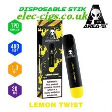 image shows all the details of Area 51 New 400 Puff Disposable E-Cigarette Stix Lemon Twist