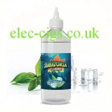image shows a large bottle of Amazonia 500 ML E-Liquid Menthol