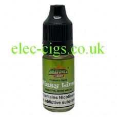 image shows a bottle of Amazonia 10ML Sub-Ohm E-Liquid Fizzy Lime
