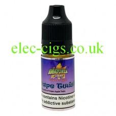 image shows a bottle of Amazonia 10ML Sub-Ohm E-Liquid Grape Twist
