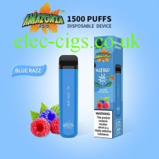Image is predominately sky blue showing the Blue Razz 1500 Puff Disposable E-Cigarette by Amazonia