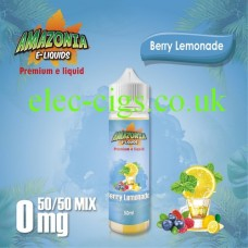 image shown on a matching background, Berry Lemonade 50ML E-Liquid with a 50-50 Mix by Amazonia
