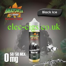 image shown on a matching background, Black Ice 50ML E-Liquid with a 50-50 Mix by Amazonia