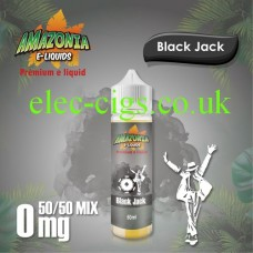 image shown on a matching background, Black Jack 50ML E-Liquid with a 50-50 Mix by Amazonia