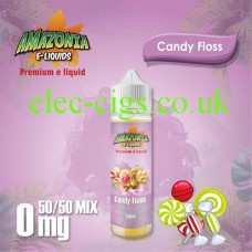 image shown on matching background, Candy Floss 50ML E-Liquid with a 50-50 Mix by Amazonia