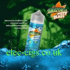 image shows a bottle of Amazonia Fizzy Blast E-Liquid Blueberry