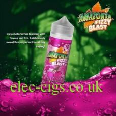 image shows a bottle of Amazonia Fizzy Blast E-Liquid Cherry
