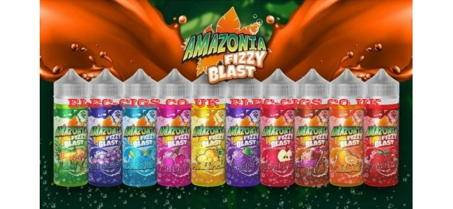 Imagr shows all 10 of the flavours available in the Amazonia Fizzy Blast 100 ML E-Liquids