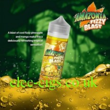 image shows a bottle of Amazonia Fizzy Blast E-Liquid Pineapple