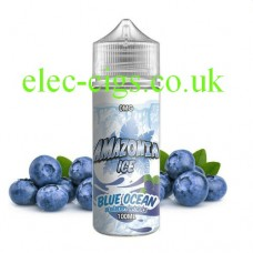 image shows a bottle of Amazonia Ice 100 ML E-Liquid Blue Ocean