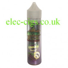on a white background we see a single bottle containing Amazonia Premium 50 ML E-Liquid Grape Lemonade Twist