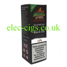 image of a box containing Amazonia Premium 10 ML Nicotine Salt E-Liquid Black Ice