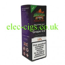 image of a box containing Amazonia Premium 10 ML Nicotine Salt E-Liquid Grape Ice