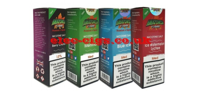 Image shows four of the flavours from the range of Amazonia Premium Nicotine Salt E-Liquids