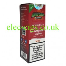 image of a box containing Amazonia Premium 10 ML Nicotine Salt E-Liquid Ice Watermelon Lychee