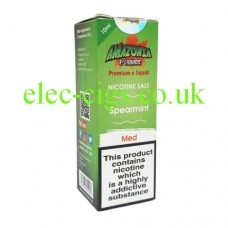 image of a box containing Amazonia Premium 10 ML Nicotine Salt E-Liquid Spearmint