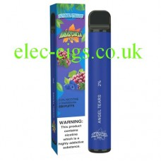 image shows the box and the actual Angel Tears 800 Puff Disposable E-Cigarette by Amazonia