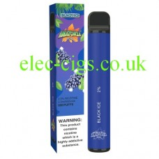 image shows the box and the actual Black Ice 800 Puff Disposable E-Cigarette by Amazonia