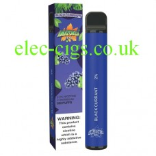 image shows the box and the actual Blackcurrant 800 Puff Disposable E-Cigarette by Amazonia 800 Puff Disposable E-Cigarette by Amazonia