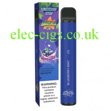 image shows the box and the actual Blueberry Mint 800 Puff Disposable E-Cigarette by Amazonia
