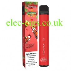 image shows the box and the actual Fizzy Cola 800 Puff Disposable E-Cigarette by Amazonia